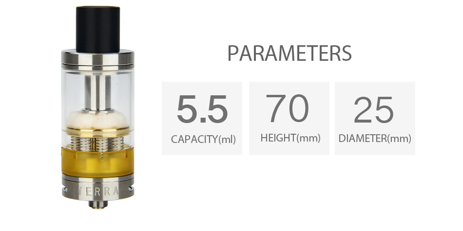 Envii Terra Octo-coil RTA 5.5ml PARAMETERS 557025   CAPACITY ml HEIGHT mm  DIAMETER mm