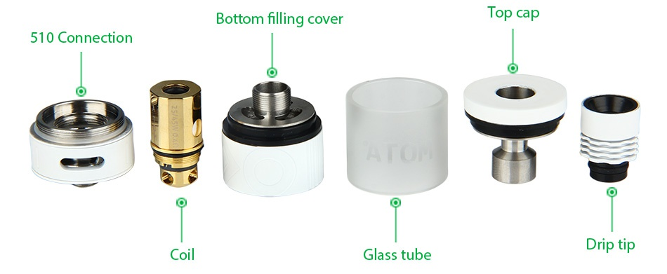 ATOM Yakuza 70W TC Kit Bottom filling cover Top cap 510 Connection Glass tube Drip tip