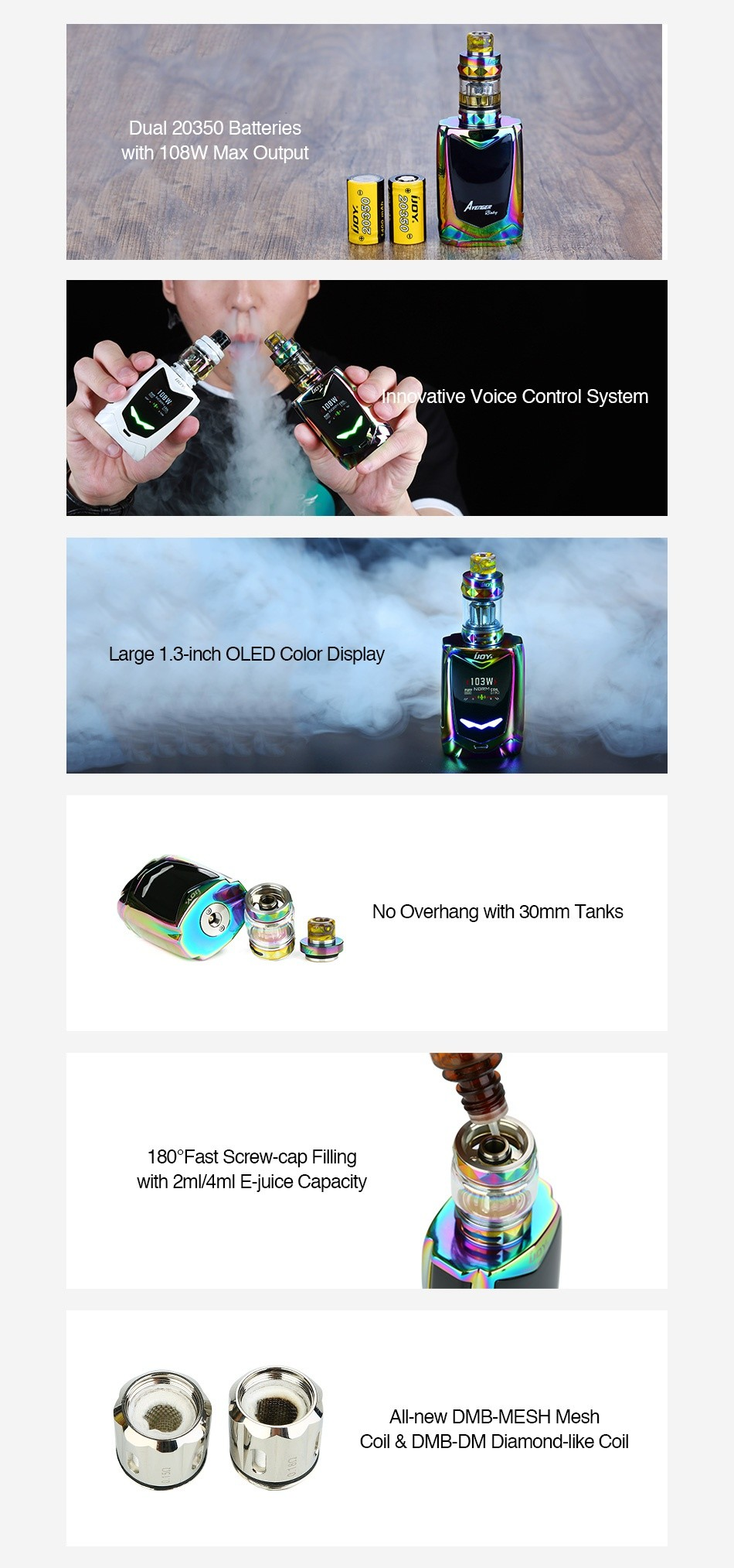 IJOY Avenger Baby 108W Voice Control TC Kit 2800mAh Dual 20350 Batteries with  108W Max Output nnovative Voice Control System Large 1 3 inch OLED Color Display No Overhang with 30mm Tanks 180  Fast Screw cap Filling with 2ml 4ml E juice Capacity All new DMB MESH Mesh coil dmb dm Diamond like coil