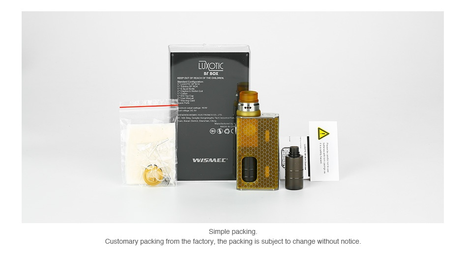 WISMEC Luxotic BF Box Kit with Tobhino LUX C   e Simple packing Customary packing from the factory  the packing is subject to change without notice