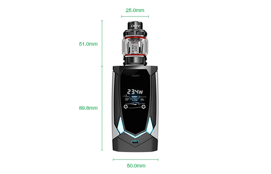 IJOY Avenger 270 234W Voice Control TC Kit 25 0mm omm 23H 9 8mm 50 omm
