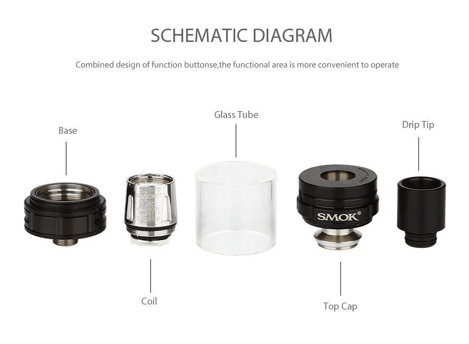 SMOK Alien Baby AL85 TC Starter Kit SCHEMATIC DIAGRAM Combined design of function buttons the functional area is more convenient to operate G Base SMOR C
