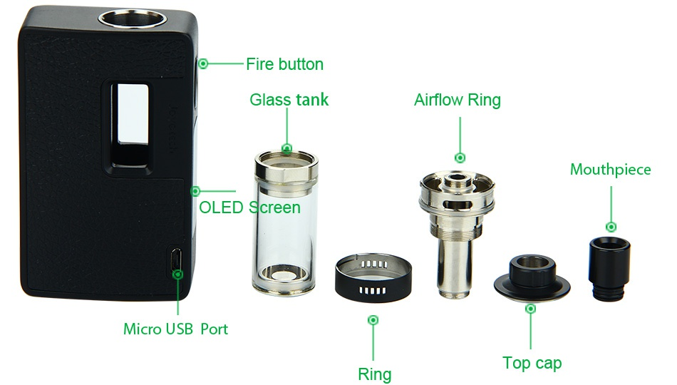 Joyetech eVic AIO 75W VT Kit Fire button Glass tank Airflow Ring Mouthpiece OLED Screen IUD Micro usb port Top cap