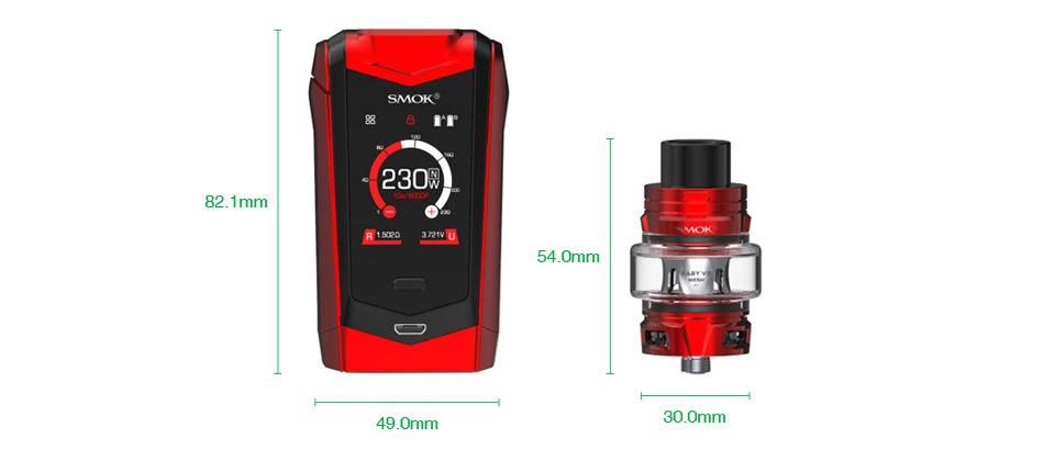 SMOK Species 230W Touch Screen TC Kit with TFV8 Baby V2 230 2 1mm R1s37 540mm 49 0mm 300mm