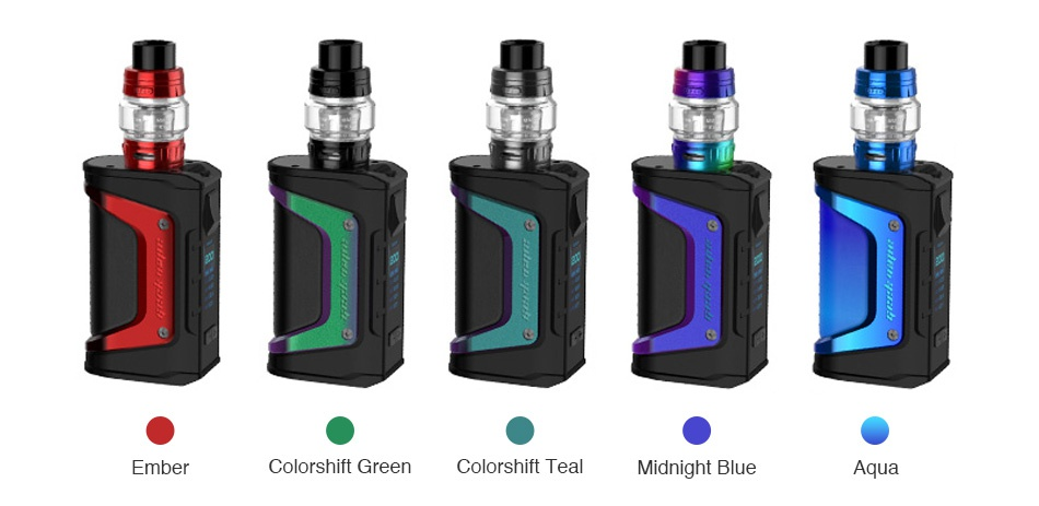 Geekvape Aegis Legend 200W TC Kit with Alpha Tank Ember Colorshift Green Colorshift Teal Midnight Blue