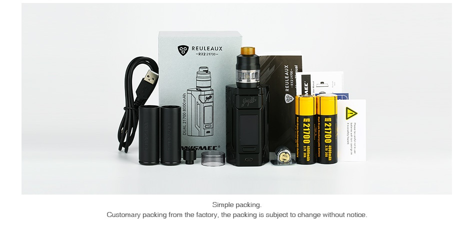 WISMEC Reuleaux RX2 21700 230W with Gnome TC Kit EULEAUX mple packing Customary packi m the factory  the packing is subject to change without notice