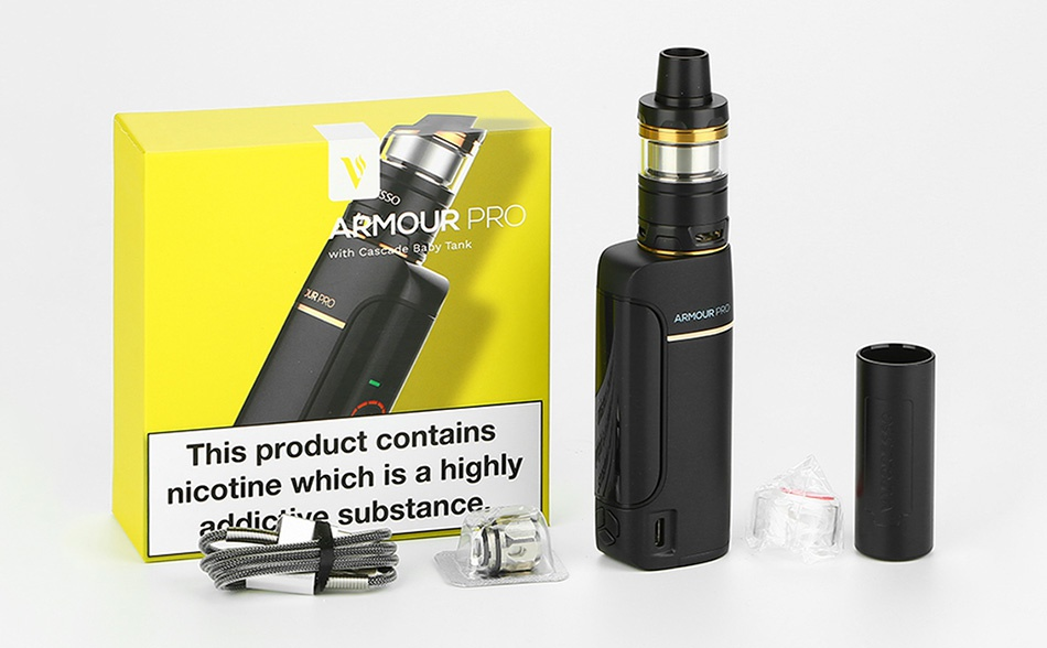 Vaporesso Armour Pro 100W TC Kit with Cascade Baby MOUR PR  This product contains nicotine which is a highl ly addic e substance