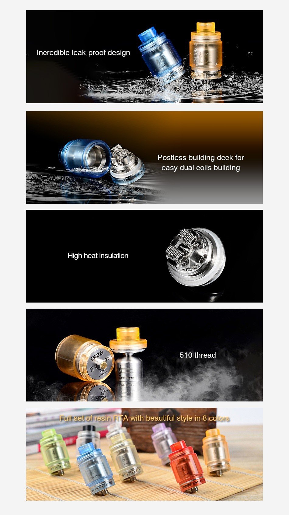 Ystar Beethoven RTA 5.5ml credible leak proof design Postless building deck for easy dual coils building High heat insulation 10 thread Puirsetof resin FifA with beautiful style in 8 cdos