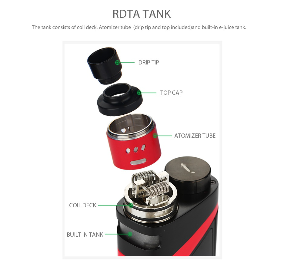 SMOK SKYHOOK RDTA BOX Starter Kit RDTA TANK The tank consists of coil deck  Atomizer tube  drip tip and top included and built in e juice tank DRIP TIP TOP CAP ATOMIZER TUBE COIL DEC BUILT IN TANK