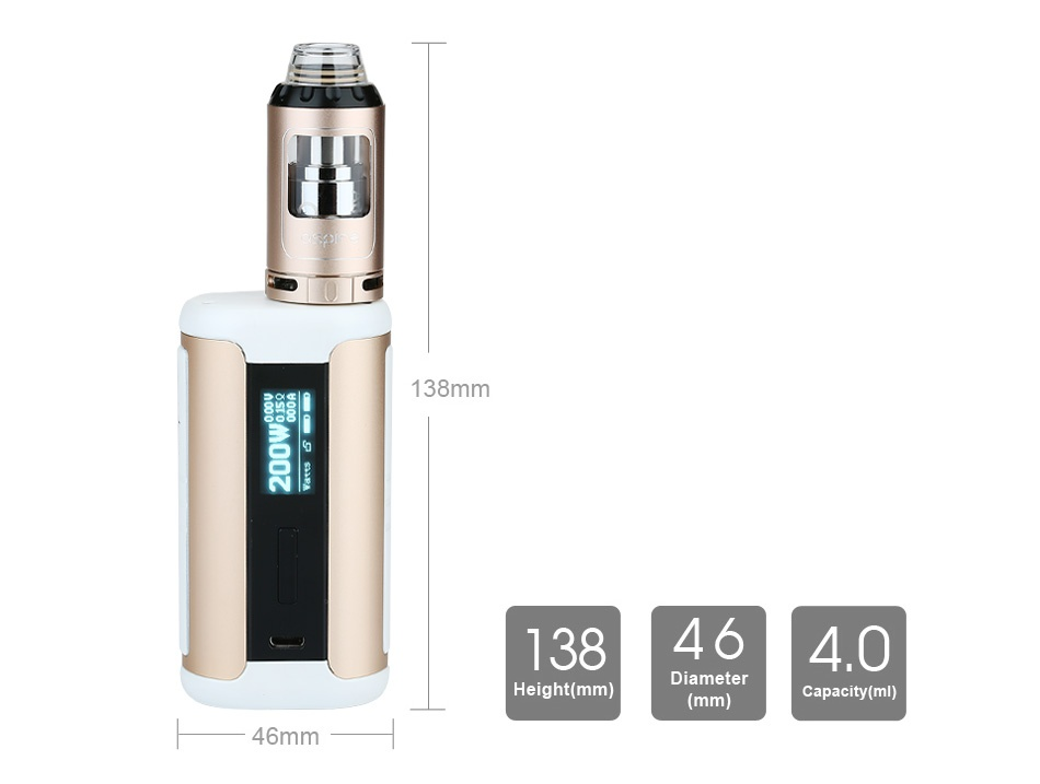 Aspire Speeder 200W TC Kit 138mm 138464 0 Diameter Height mm   mm  capacity ml  46mm
