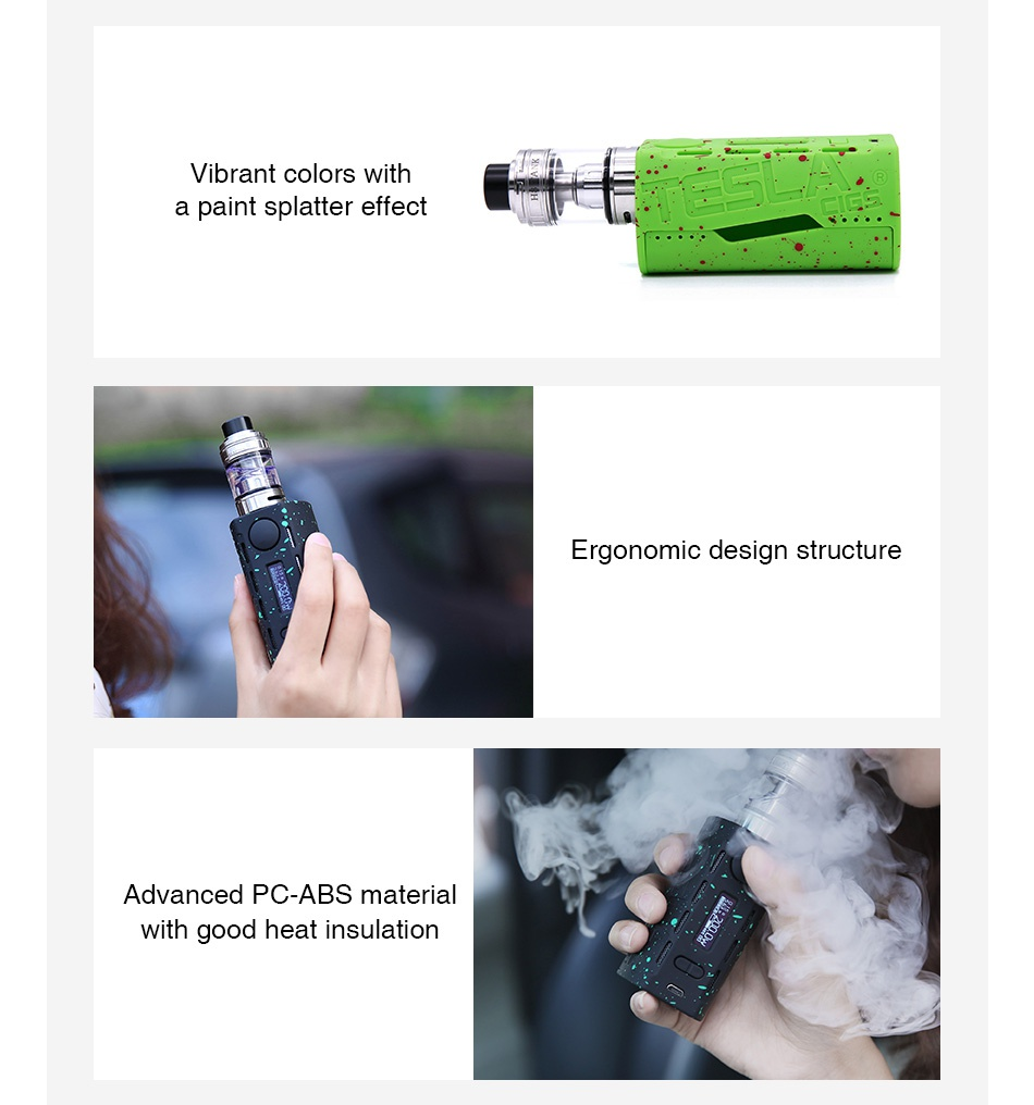 Tesla WYE 200W TC Kit with H8 Tank Vibrant colors with a paint splatter effect Ergonomic design structure Advanced Pc abs material with good heat insulation