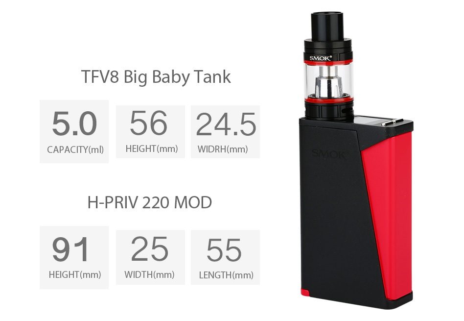 SMOK H-PRIV PRO With TFV8 Big Baby Kit SMOK SMOK GOLD BLUE BLACK