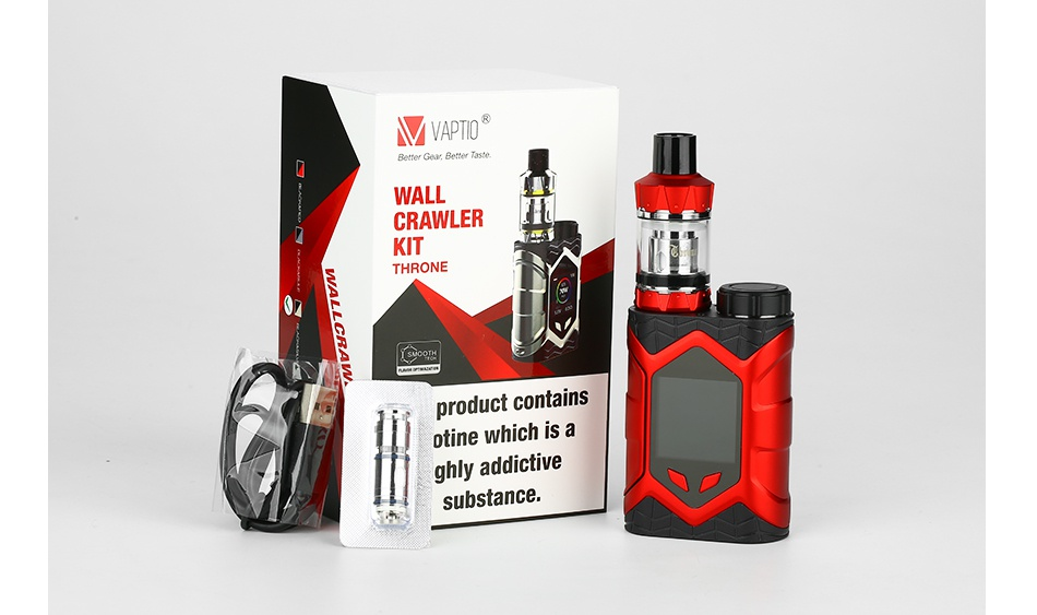 Vaptio Wall Crawler 80W TC Kit with Throne Tank MVAPTIO CRAWLER KIT pr duct con hich is a ghly addictive ubstance