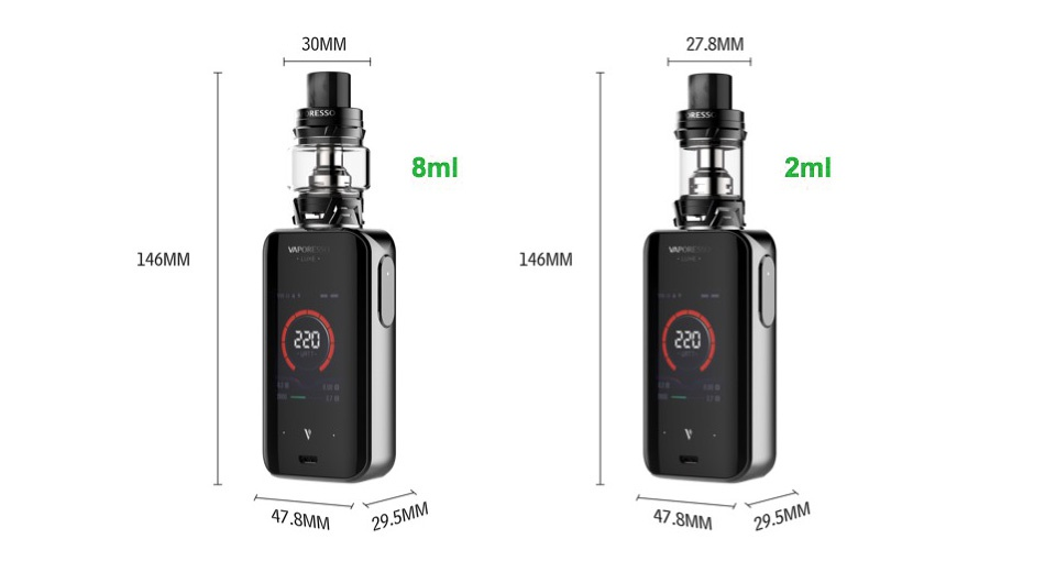 Vaporesso Luxe 220W Touch Screen TC Kit with SKRR 30MM 278MM 8ml 2ml 146MM 146MM 478MM 8MM29