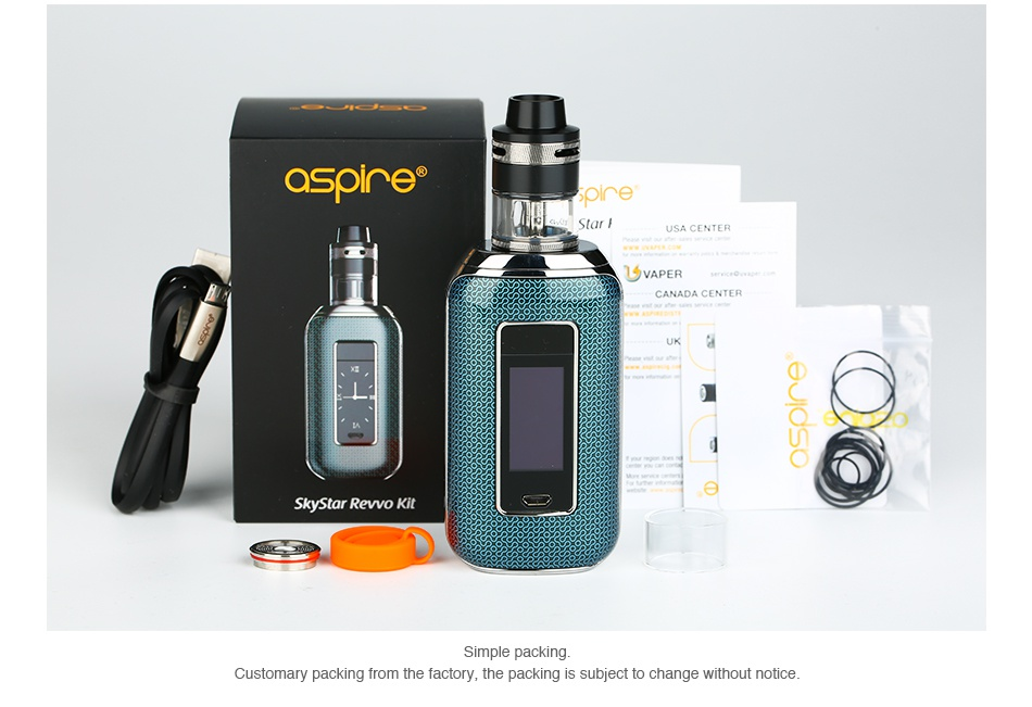 Aspire Skystar 210W Touch Screen TC Kit with Revvo aspire VAPER CANADA CENTE Skystar Revo Kit Customary packing from the factory  the packing is subject to change without notice