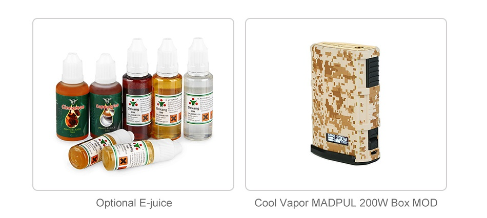 Cool Vapor MADPUL 200W VW Kit with LAVA Tank Optional E juice Cool Vapor MADPUL 200W BoX MOD