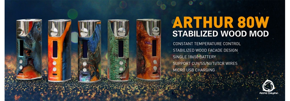 Arctic Dolphin Arthur 80W Stabilized Wood MOD + GeekVape Illusion Mini Tank ARTHUR 8OW STABILIZED WOOD MOD CONSTANT TEMPERATURE CONTROL STABILIZED WOOD FACADE DESIGN 8650B SUPPORT CUV SS NI TI TCR WIRES RO USB CHARGING