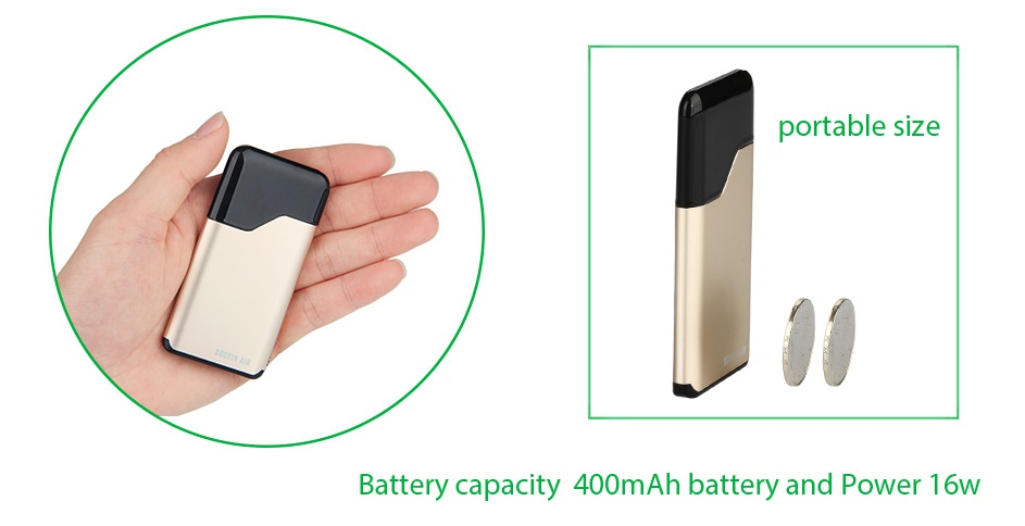 Suorin Air Starter Kit 400mAh portable size Battery capacity 400mAh battery and Power 16w