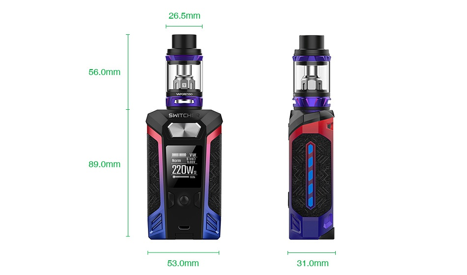 Vaporesso Switcher 220W with NRG TC Kit 26 5mm 6 0mm 89  omm 220W 53 omm 31 0mm