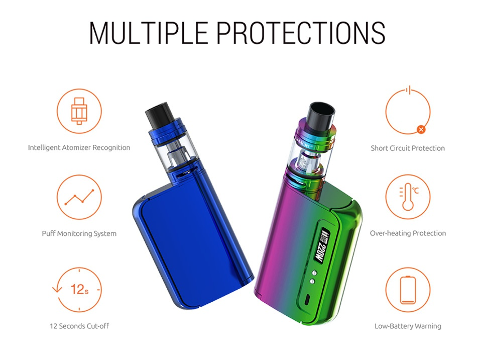 SMOK OSUB King 220W TC Kit with TFV8 Big Baby MULTIPLE PROTECTIONS Intelligent Atomizer Recognition Short Circuit Protection Puff Monitoring System Over heating Protection 12 Seconds Cut oFF