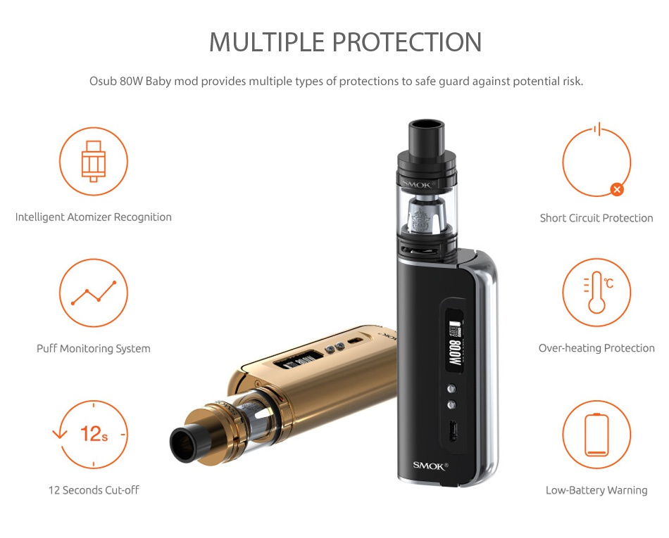 SMOK OSUB 80W Baby TC Kit with TFV8 Baby SMO MOT SMOK SMOK SMOK Black Sliver Sliver Black Full Color GoldGold
