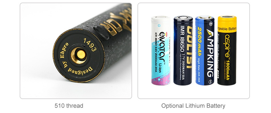 [With Warnings] Ehpro Armor Prime 20700 Mech MOD 510 thread Optional Lithium Battery