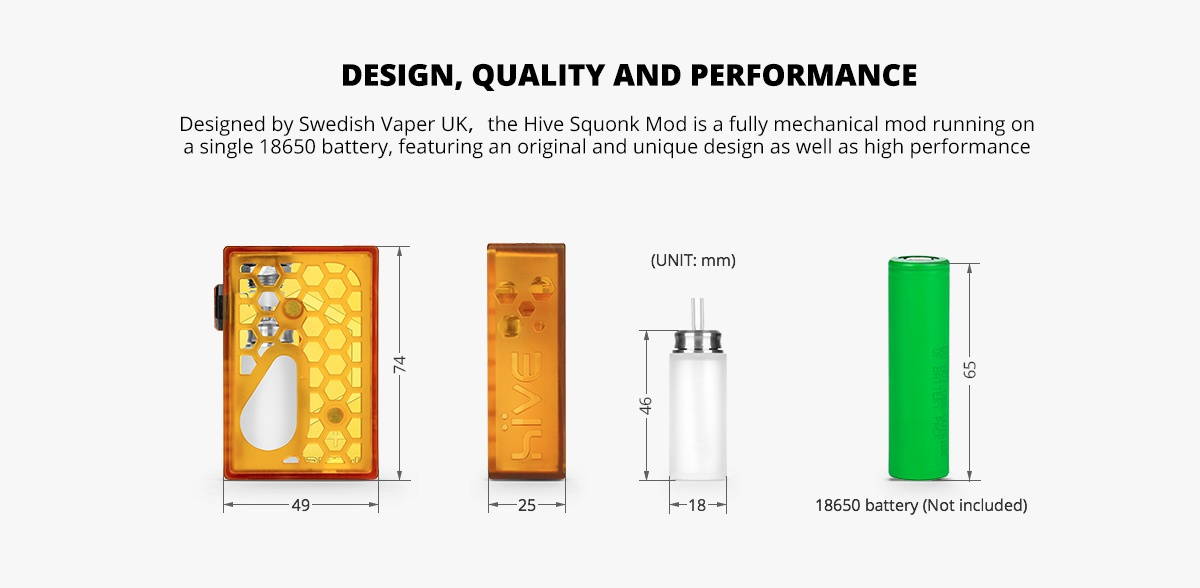 [UK Design] Swedish Vaper Hive Squonk BF Box MOD Honey Comb Version NightWasp version