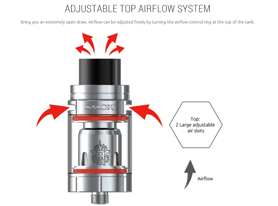 SMOK Stick X8 Kit 3000mAh ADJUSLABLE OP AIRFLOW SYSIEM Bring you an extremely open draw  Air flow can be adjusted freely by turning the airflow control ring at the top of the tank  T 2 Large adjustable