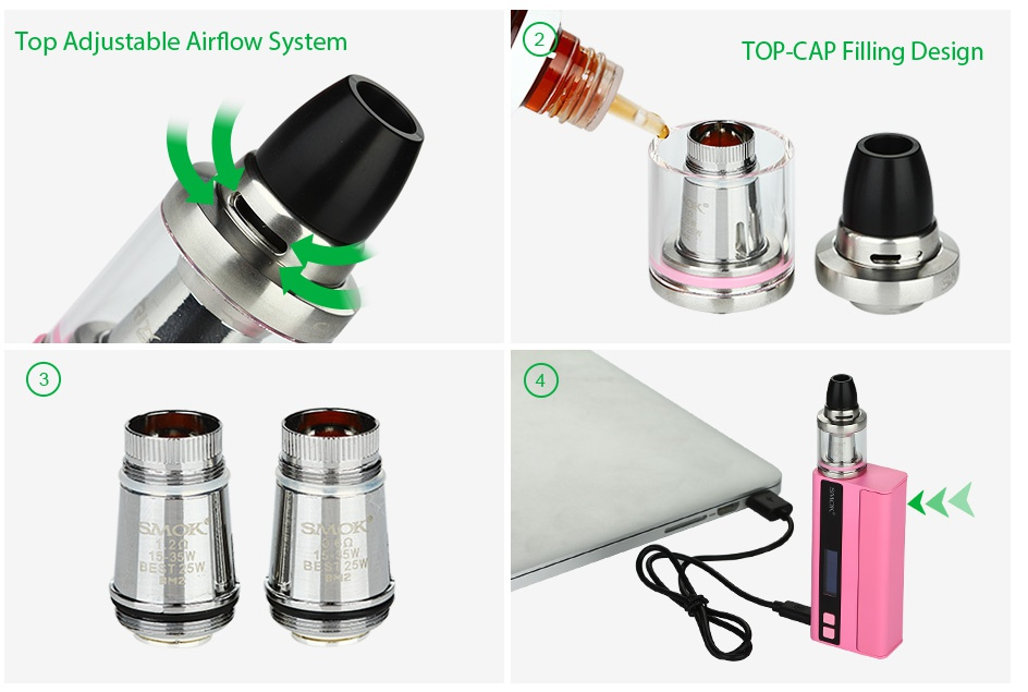 SMOK Quantum Brit Mini 80W TC Start Kit Top Adjustable Airflow System TOP CAP Filling Design