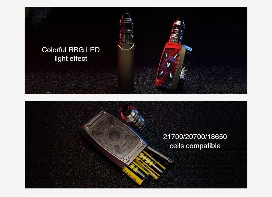 Tesla XT 220W TC Kit with Tallica Mini 6000mAh Colorful rbg led ght effect 21700 20700 18650 cells compatible