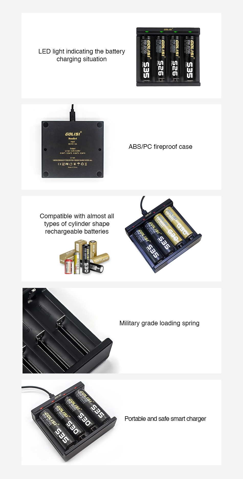Golisi Needle 4 Smart USB Charger ED light indicating the battery charging situation UU HU iU i  Um U UL BOLISI ABS PC fireproof case  F     Compatible with almost all types of cylinder shape rechargeable batteries Military grade loading spring Portable and safe smart charger