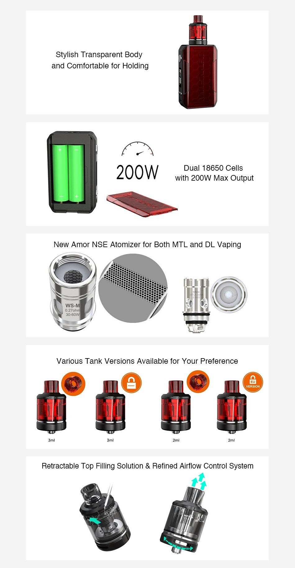 WISMEC SINUOUS V200 200W TC Kit with Amor NSE Stylish Transparent Body and Comfortable for Holding 200W Dual 18650 Cells with 200W Max Output New Amor NsE Atomizer for Both MTL and DL vaping WS M 0 27oh Various tank versions available for your preference VERSION Retractable Top filling solution refined airflow Control system
