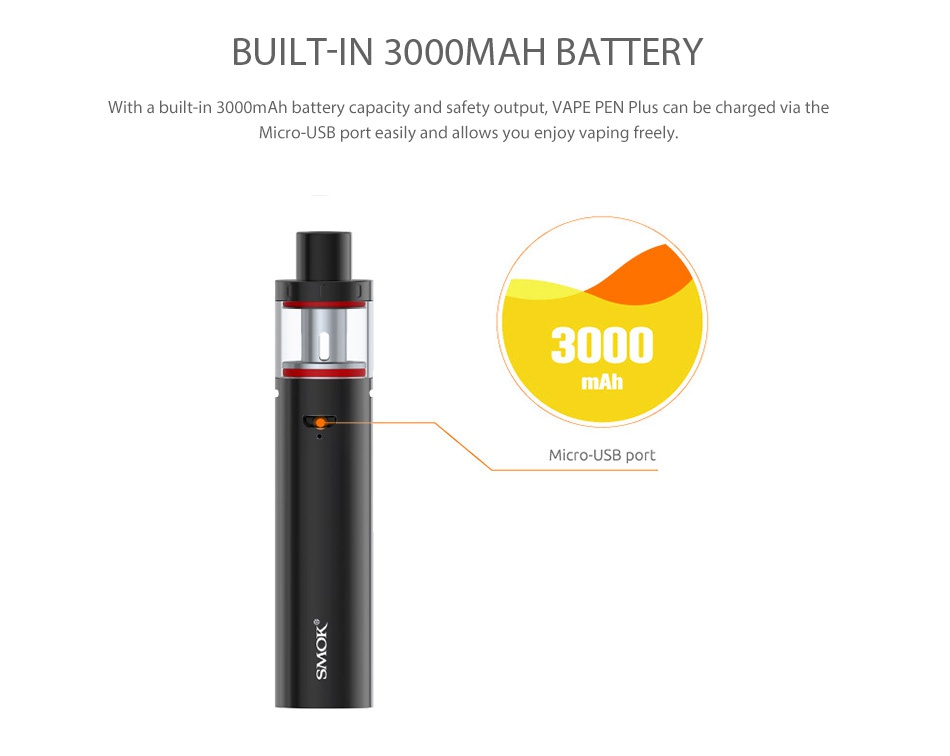 SMOK Vape Pen Plus Starter Kit 3000mAh BUILT IN 3000MAH BATTERY ith a built in 3000m Ah battery capacity and safety output  VAPE PEN Plus can be charged via the Micro USB port easily and allows you enjoy vaping freely 3000 mAh Micro USB port