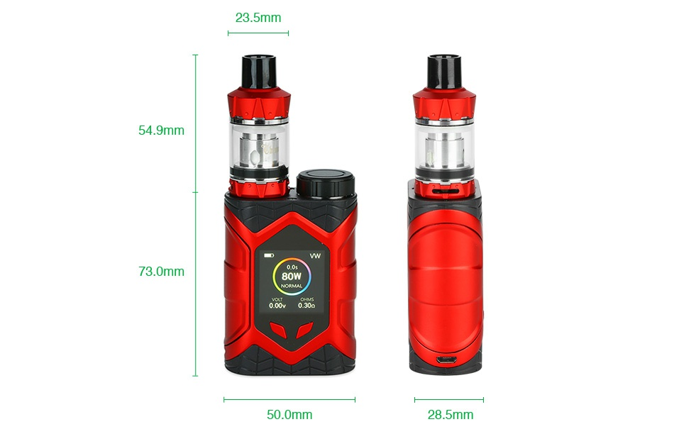 Vaptio Wall Crawler 80W TC Kit with Throne Tank 23 5mm 54 9mm 73 0mm 50 0mm 28 5mm