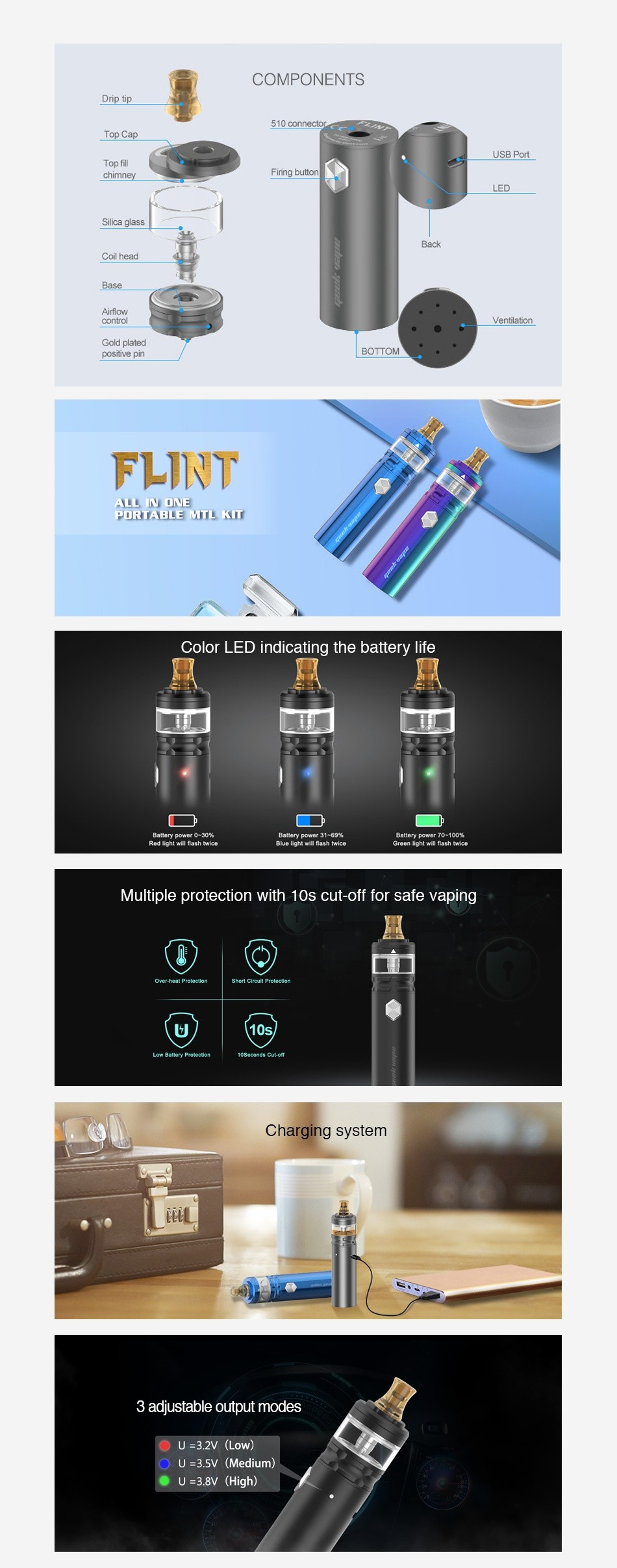 Geekvape Flint Starter Kit 1000mAh COMPONENTS 510 conne Top Ca chimney Firing button Coil rcad Base Airflow control God plated Cs  FLINT YLL IN ONE ORTABLE MTL KIT Color LEd indicating the battery life Multiple protection with 10s cut off for safe vaping Charging system 3 adjustable output modes O U 3  2V Low   U 35 Medium   U 38V High