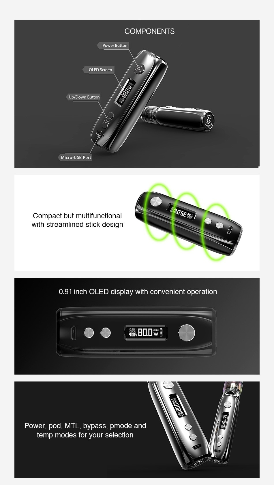 IJOY Katana 81W TC MOD 3000mAh COMPONENTS Power Button OLED Screen Up Down Button Micro USB Port Compact but multifunction ith streamlined stick design 0  91 inch OLEd display with convenient operation 0      ower  pod  MTL  bypass  pmode and temp modes for your selection