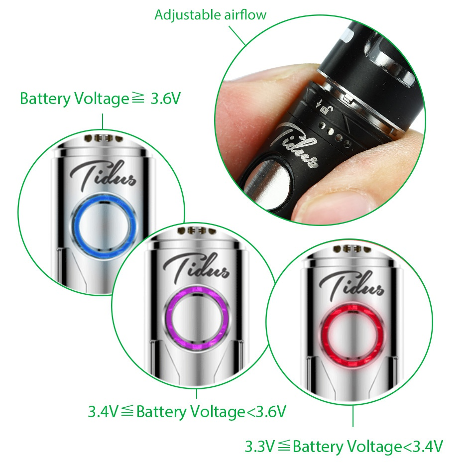 UD Tidus Kit 800mAh Adjustable airflow Battery Voltage 3 6V     b     b 34V  Battery otae 36V 3  3V Battery Voltage 3  4V
