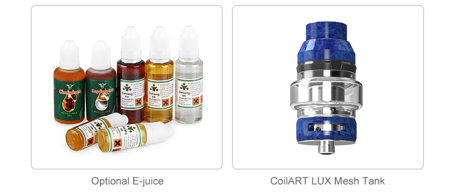 CoilART LUX 200 TC Kit with LUX Mesh Tank Optional E juice COIlART LUX Mesh Tank