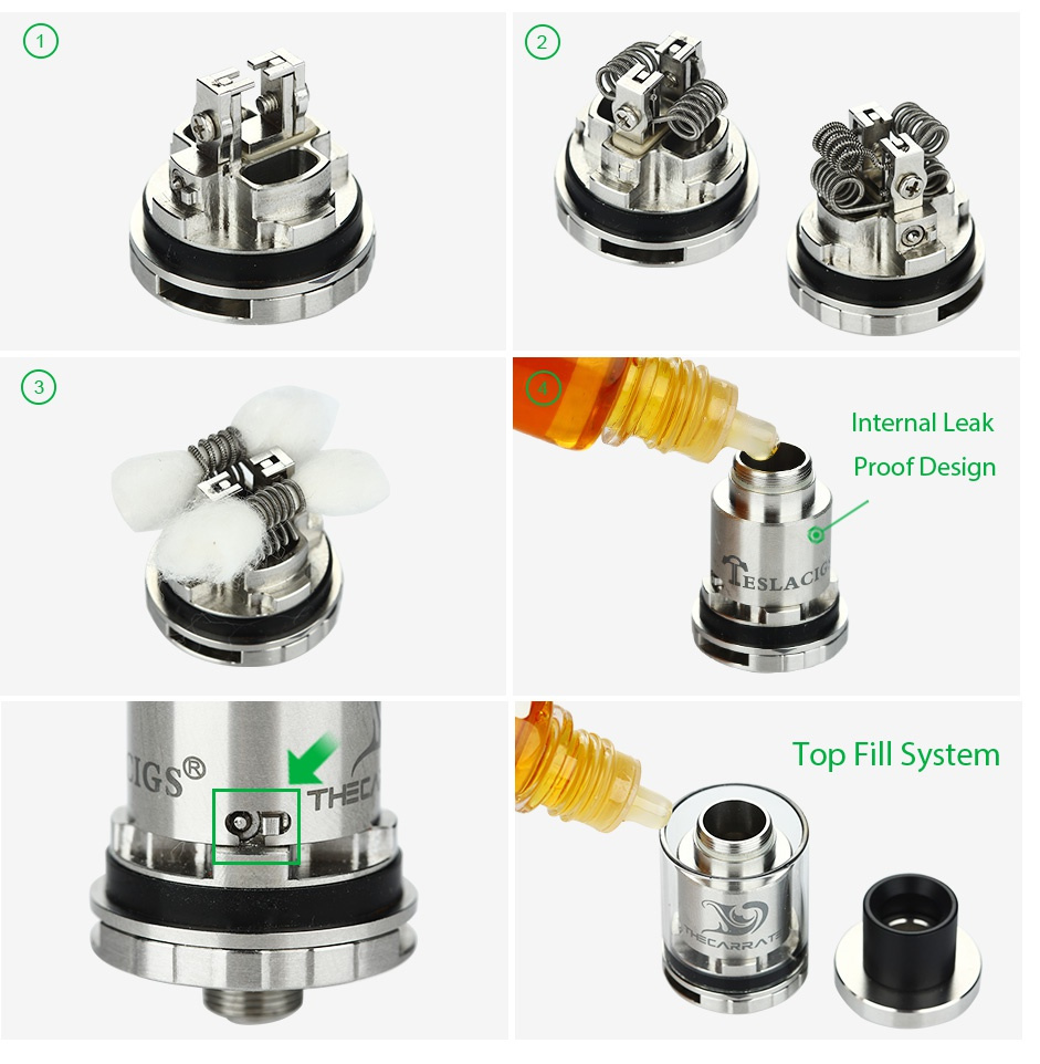 Tesla The Carrate 22 RTA Atomizer 2ml Internal leak Proof Design G Top Fill System