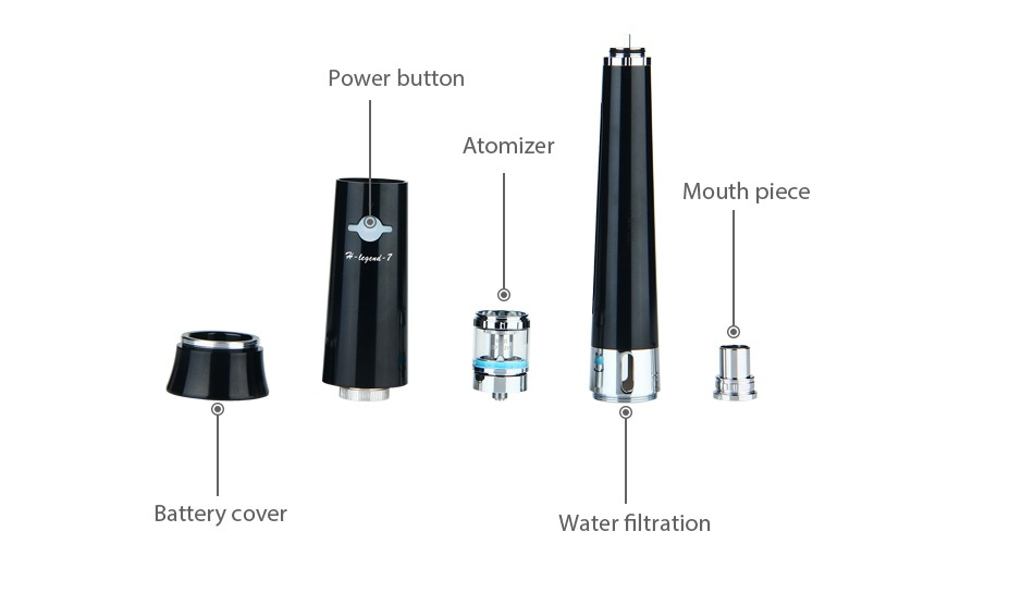 Beyang H-legend-7 VV Kit Power butto Atomizer Mouth Battery cover Water filtrati