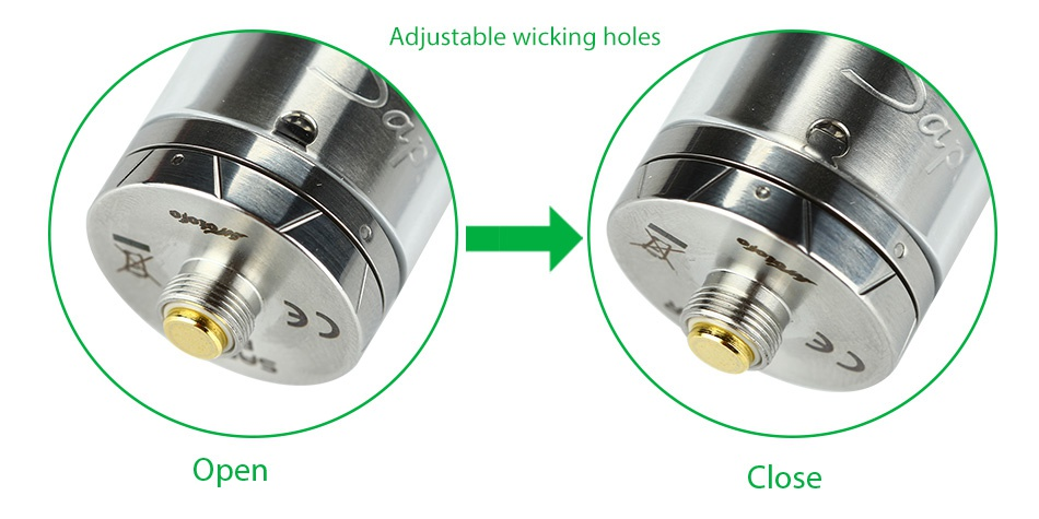 WOTOFO Sapor RTA Atomizer 2ml Adjustable wicking holes Open C ose