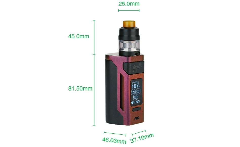 WISMEC Reuleaux RX2 21700 230W with Gnome TC Kit 25 0mm 45 0mm 81 50mm 46 03mm37 10mm