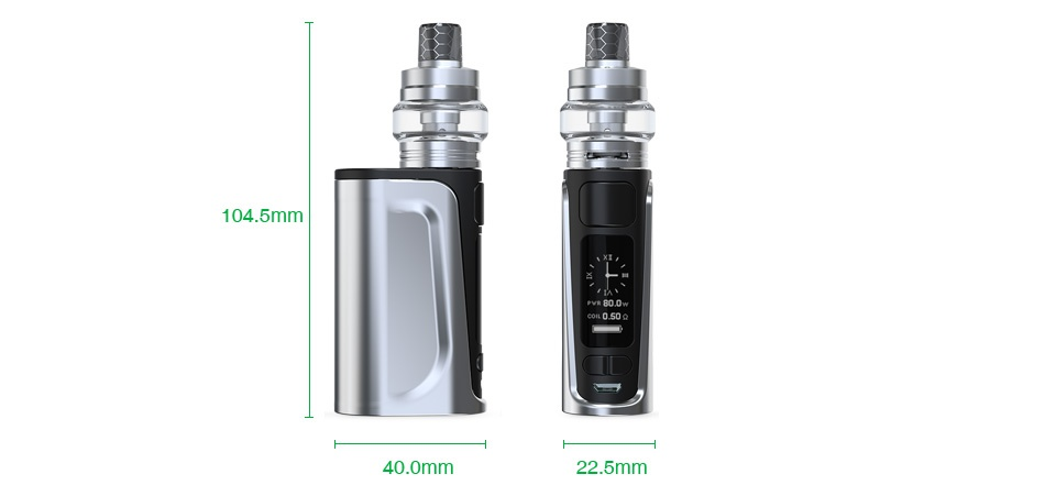 Joyetech eVic Primo Fit 80W with Exceed Air Plus TC Kit 2800mAh 104 5mm 40 0mm 22 5mm