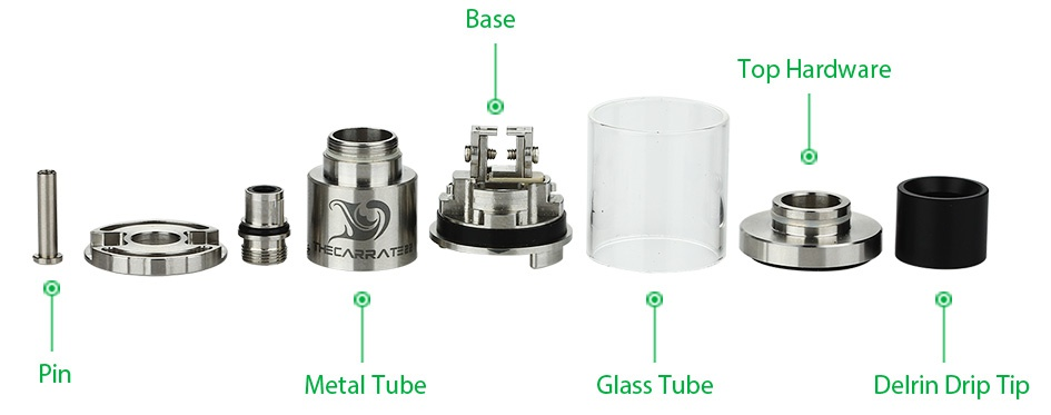 Tesla The Carrate 22 RTA Atomizer 2ml Base Top Hardware Metal Tube lass Tube Delrin Drip Tip