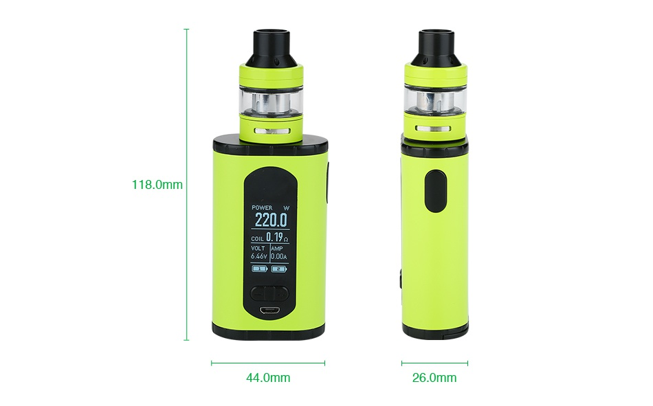 Eleaf Invoke 220W with Ello T TC Kit 8 0m 2200    44 0mm 26 0mm