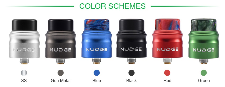 WOTOFO NUDGE RDA 22mm COLOR SCHEMES   G NUDGE NUDGE NUDGE NuDc  NUDGE Gun metal Blue Black Red Gree