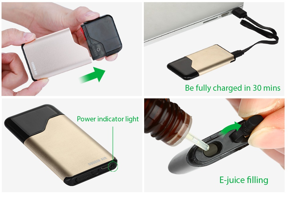 Suorin Air Starter Kit 400mAh Be fully charged in 30 mins Power indicator light E juice filling