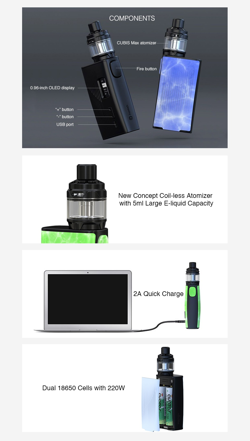 Joyetech ESPION Tour 220W TC Kit with Cubis Max COMPONENTS CUBIS Max atomizer 0 96 inch OLED display button USB port New Concept coil less atomizer with 5ml Large E liquid capacity 2A Quick Charge Dual 18650 Cells with 220W