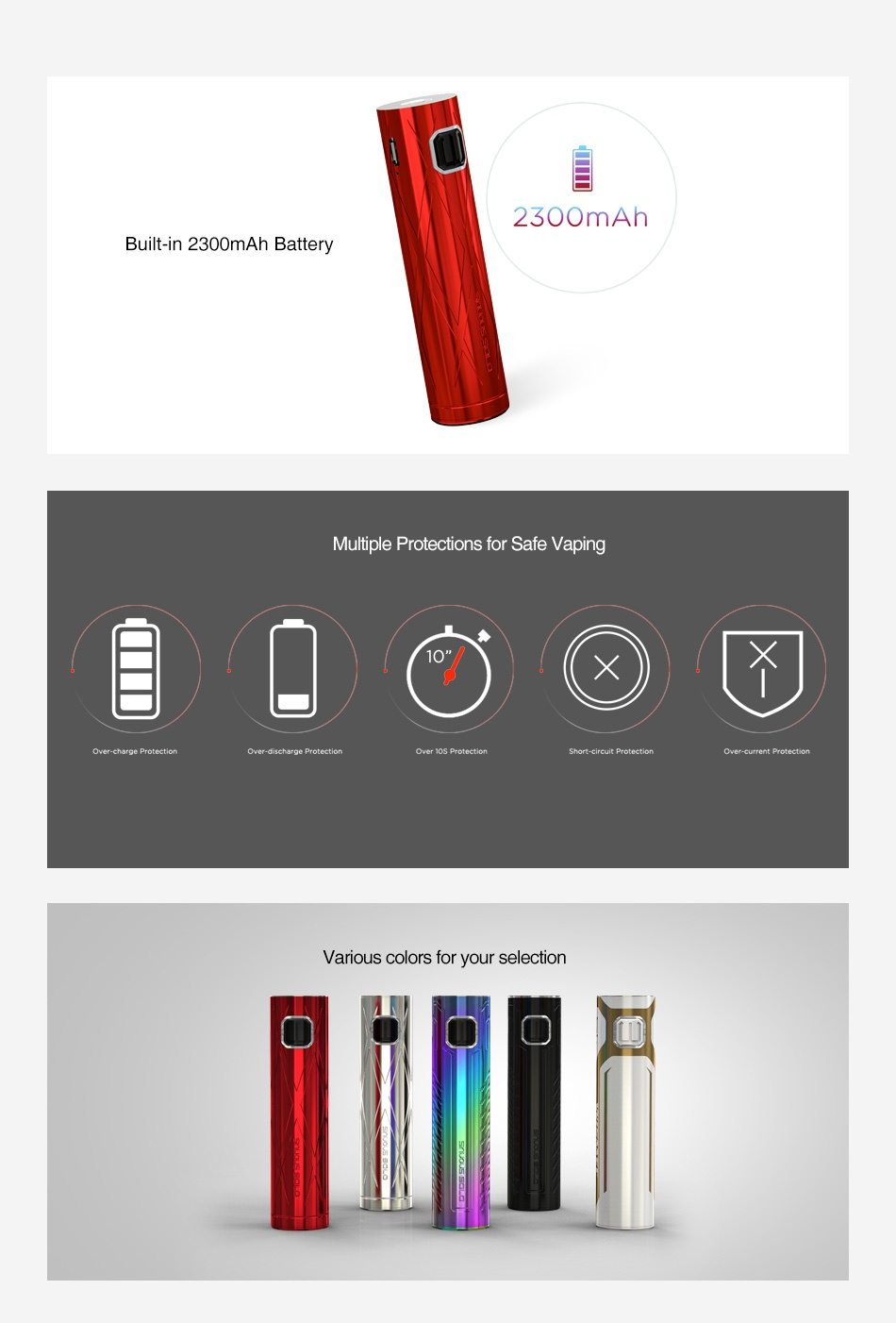 WISMEC SINUOUS SOLO Battery 2300mAh 2300mAh Built in 2300mAh Battery ltiple Protections for Safe Vaping   Various colors for your selection