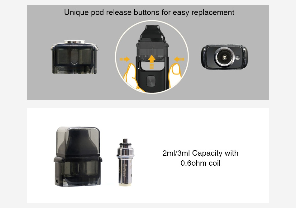 Aspire Breeze 2 Pod 2ml/3ml Unique pod release buttons for easy replacement 2ml 3ml Capacity with 0  bohm coi